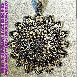 HP💕Vtg Large Artisan Sterling 925 Mandala Pendant